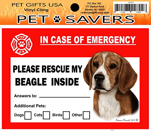 in Case of Emergency Home Fenster Pet Savers Rescue Selbst Aufkleber 5.75 x 4 inches Beagle -