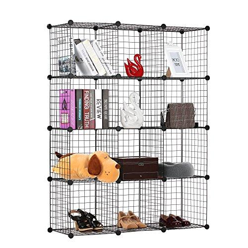 BASTUO 12-Cubes DIY Draht Aufbewahrung Schrank Bücherregal Regal Körbe Modular Cubes, Closet für Toys. Bücher, Kleidung, schwarz -