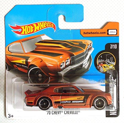 Chevelle Chevy 70 Hotwheels (2017 Hot Wheels Nightburnerz '70 Chevy Chevelle Burnt Orange 212/365 (Short Card))