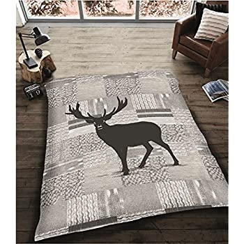 Luxury Soft Sherpa Reverse Throw in Silver Grey with Stag Design 140cm x 180cm