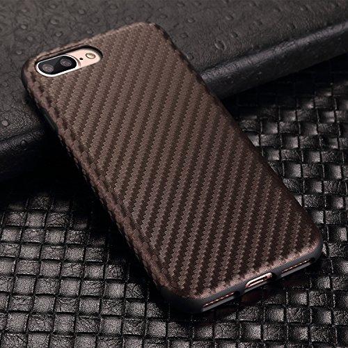 TENDLIN iPhone 8 Plus Hülle Carbon mit TPU Silikon Weiche Schutzhülle für iPhone 8 Plus und iPhone 7 Plus (Schwarz) Brown