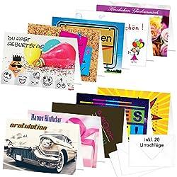 """PRICARO Geburtstagskarten mit Briefumschlägen Motive 2"""", A6, 20 Stück"""