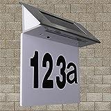 Edelstahl Hausnummernleuchte, Intsun LED Solar Hausnummern-Leuchte mit Lichtsensor Beleuchtete Hausnummer 4 LEDs Solar Außenwandleuchte Hausnummernleuchte mit Solar-Panel, inkl. 600 mAh Akku