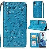 Ostop Coque Portefeuille pour Huawei P20,Bleu Étui en Cuir PU,Eléphant Fleur Motif Imprimé Mince Stand Housse Fermeture Magnétique Livre à Rabat Pochette pour Huawei P20