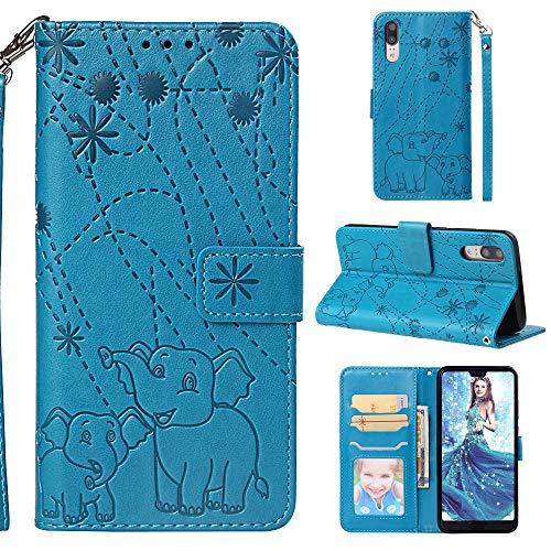 Nadoli Hülle for Huawei P20,PU Ledertasche Prägung Elefant Wallet Lederhülle mit Kartenfach Magnetischer Flip Handyhülle Bookstyle Cover für Huawei P20-Blau