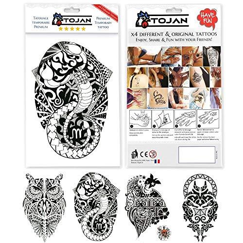 Tatuaggi maori temporanei per adulti / 4 foglie di tatuaggi con motivi maori differenze / grande tattoo 21x15cm