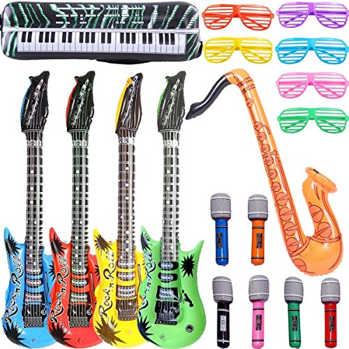 GuassLee Inflables Rock Star Toy Set - 18 Pack Inflatable Party Props - 4 Guitarras inflables, 6 micrófonos, 6 persianas sombreadoras, 1 saxofón y 1 Inflable Teclado Piano Inflatable Party Toys