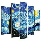 Giallobus - Quadro multipannello 5 Pezzi 140 x 100 - Vincent Van Gogh - Notte Stellata - Stampa su Legno MDF - Pronto da Appendere - 140x100 cm