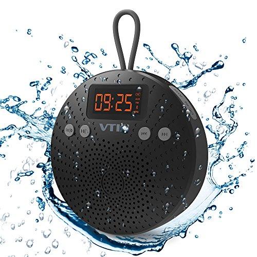 Altavoz Bluetooth Ducha impermeable de VicTsing, Funciones de Radio FM, Despertador y Manos libres. Impermeable IPX5 y 10 HORAS de Emisión Continua Para HuaWei, XiaoMi, Nexus, HTC, iPhone y iPad, etc(Con Ventosa)