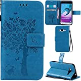 Ooboom® Samsung Galaxy J3 2016 Case Cat Tree Pattern PU Leather Flip Cover Wallet Stand with Card/Cash Slots Packet Wrist Strap Magnetic Clasp for Samsung Galaxy J3 2016 - Blue