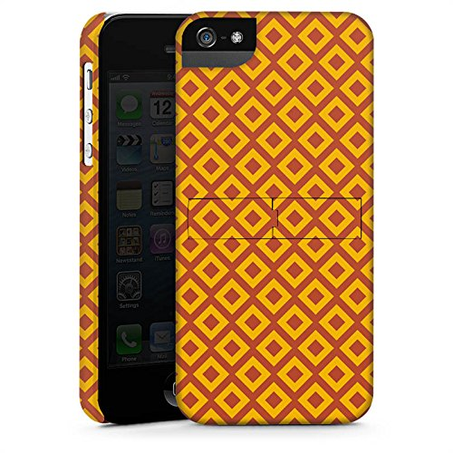 Apple iPhone 5s Housse Étui Protection Coque Losanges Orange Motif CasStandup blanc