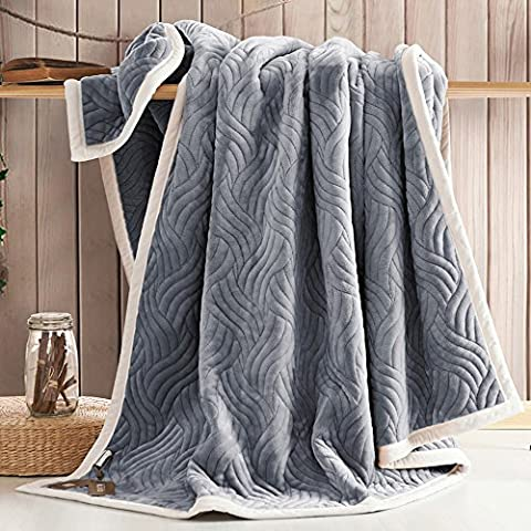 Zangge Bedding Thick Soft Large Flannel Double Deck Quilting Reversible Blanket Throw for Bed Chair Living Room Grey 200 x