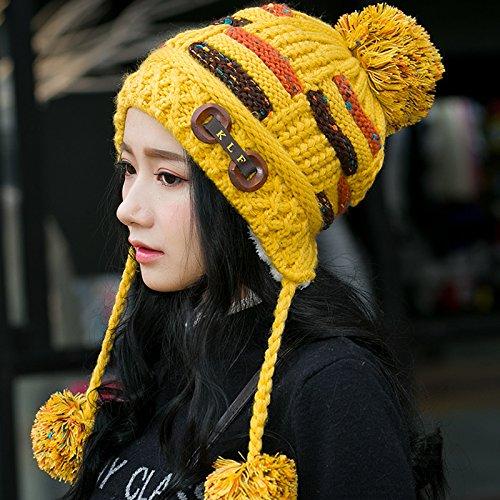 FQG*enfants hiver Hat Tricot automne hiver marée sauvage sweet lovely Corée chaud épais tricot oreilles Hat , Red Yellow