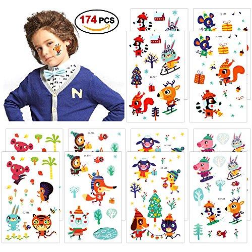 Konsait 174 fattoria animali tatuaggi temporanei tattoo adesivo giocattolo per bambini bambina regalo bambini festa di compleanno bomboniere, 12 fogli