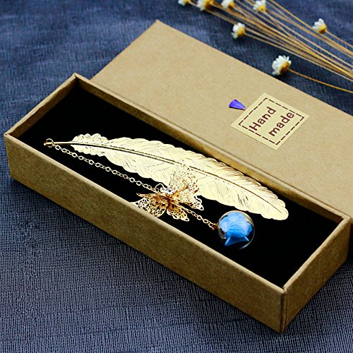 Maplehome Lesezeichen, Vintage-Stil, goldfarbenes getöntes Metall, Messing, handgefertigt, Federn mit Perlen und Schmetterlingen und Blumen, Geschenkbox, verpackt blau