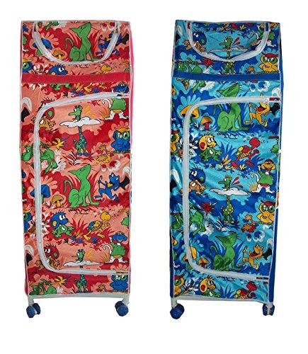 MultiPurpose Baby Kids Child Almirah Folding Wardrobe Organizer 5 Shelves Rolling For Cloths, Shoes, Books, Toys, Etc D1
