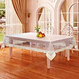 Alpac PVC Plastic Transparent Clear Dining Table Cover Cloth Tablecloth Waterproof Protector, 6 - 8 seater, 60 X 90 inches, Rectangle (with beige laced edges)