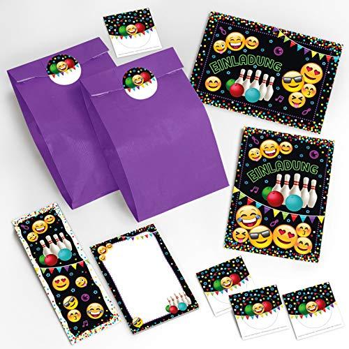 12 Einladungskarten Geburtstag Bowling Kinder Jungen Jungs Mädchen / Einladung zur Bowling-Party incl. 12 Umschläge, 12 Tüten / lila, 12 Aufkleber, 12 Lesezeichen, 12 Notizblöcke