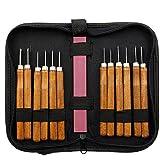 Talla de madera del cuchillo de la mano cinceles Kit de herramientas para los carpinteros con la piedra de afilar paquete profesional (12 PC)