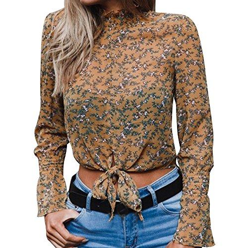 VEMOW Sommer Herbst Elegante Damen Frauen Chiffon Floral Flare Sleeve Kurzen Bogen Shirt Sterne Drucken Casual Täglichen Party Strandarbeit Top Bluse Crop(Gelb, EU-44/CN-XXL) -