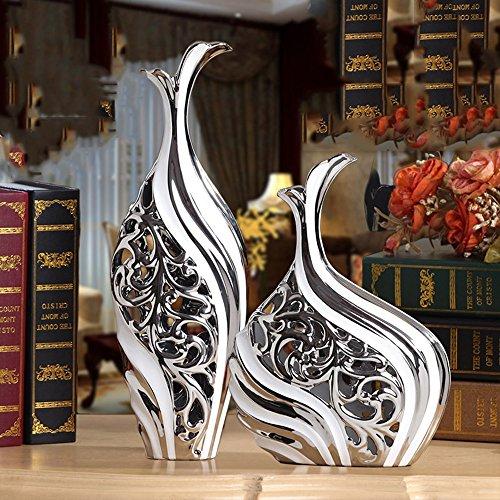 Europäische Vase Ornamente Wohnaccessoires Keramik Wohnzimmer Dekorationen ( Farbe : Silber )