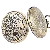 YISUYA Vintage Bronze Doctor Who Retro Dr Who Pocket Watch with Chain Mens Boys Necklace Pendant Gift Box Bild 4