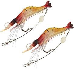 Fishing Live Silicone Rubber Shrimp,Fishing Prawn Lure,Bait 2pcs