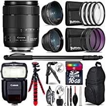 "Canon 18-135mm Is USM Lens + Canon Speedlite 430EX III-RT + 0.43X Wide Angle Lens + 2.2X Telephoto Lens + UV-CPL-FLD Filters + Macro Filter Kit + 72"" Photo/Video Monopod - International Version"