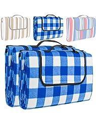 TecTake Colchón manta de picnic viaje camping 200x150cm fondo hidrófugo enrollable - disponible en diferentes colores y cantidades - (2x Azul blanco | no. 401784)