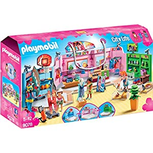 Playmobil 9078 City Life Shopping Plaza with Sports/Pet and Clothing Retailers Toy Set