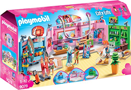 Playmobil 9078 City Life Shopping Plaza with Sports, Pet and Clothing Retailers