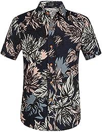 SSLR Camisa Lino Hombre Manga Corta de Estilo Aloha Hawaiano Tropical