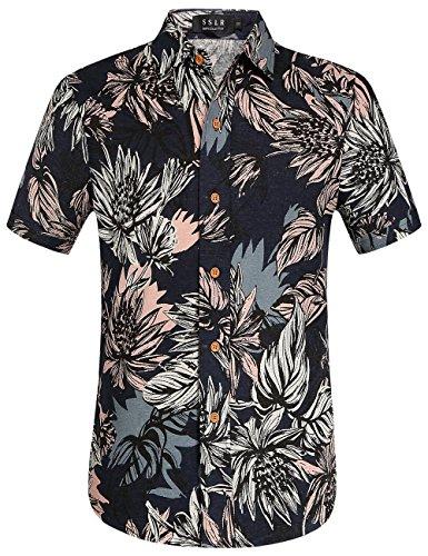SSLR-Camisa-Lino-Hombre-Manga-Corta-de-Estilo-Aloha-Hawaiano-Tropical-Medium-Azul