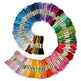 Romote Stickgarn, 100% Baumwolle, 100 x Verschiedene farbige Stränge