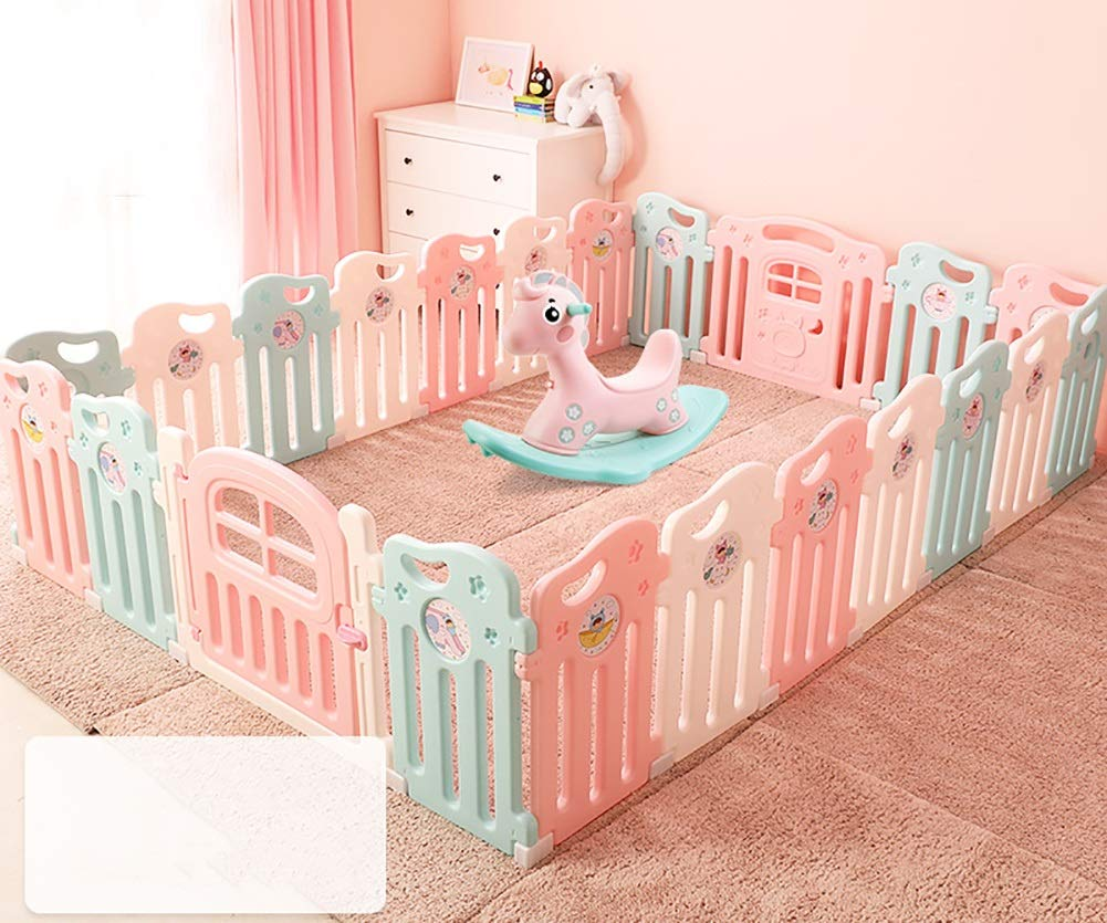 Playpen Baby Baby Play Fence Child Safety Boy And Girl Safety Activities Home Play House Infant Toddler Crawling Mat Send Rocking Horse (Size : 20+2)  ZAY