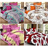Story@Home Magic 152 TC Set of Premium 4 Pieces Bedsheets with 8 Pillow Covers Multi