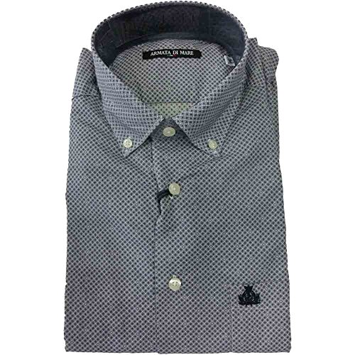 Camicia Armata di mare 0876 uomo - Camicia botton down 100% cotone, blu, 42