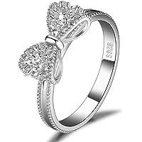 JewelryPalace Cubic Zirconia Anniversario Anello di Fidanzamento Farfalla Nodo Argento Sterling 925