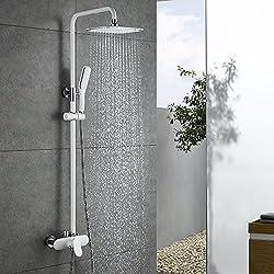 Homelody Duscharmatur Weiß Duschsystem Rainshower Regendusche Duschset Brausegarnitur mit Duschkopf und Handbrause Dusche Armatur mit Überkopfbrause für Badezimmer