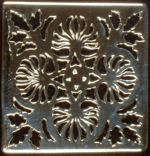 Floral Lattice Rectangle for Pendants (Price per Piece) - Sterling Silver (Lattice Floral)