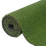Festnight Kunstrasen Rasenteppich PP Vlies-Kunstrasen 1,5 x 5 m / 20 - 22 mm UV-Beständig Ergänzung zu Terrasse Garten oder Balkon - Grün