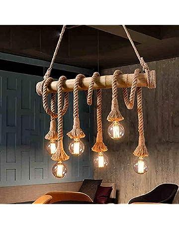 cbbada6dace62 Groeien Retro Bamboo Rope Cord Hemp Dining Lighting Fixture Restaurant  Kitchen Vintage Pendant Lamp (Bulb