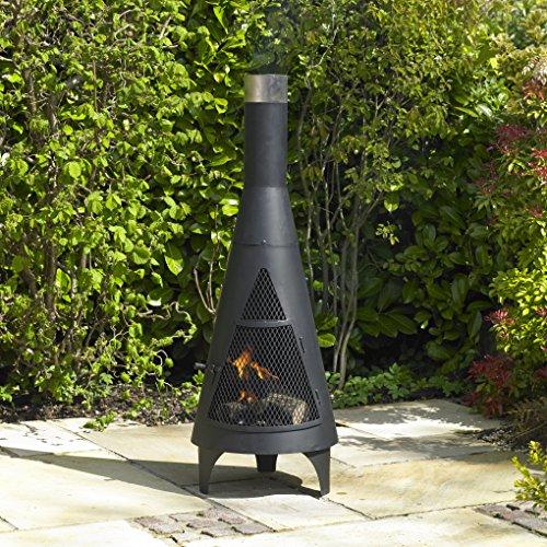 Kingfisher Tower Outdoor Black Chiminea