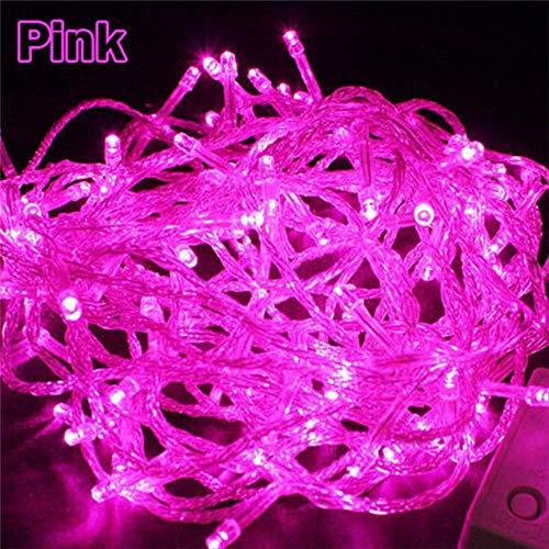Sqwk10m led albero di natale fata luce impermeabile home garden party decorazione per feste all'aperto 220v spina ue rosa
