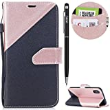 iPhone XS Hülle,iPhone X Leder Handyhülle,WIWJ Wallet Case[Zwei-Farben-System Splice Ledertasche]Schutzhüllen für iPhone X/iPhone XS-Roségold