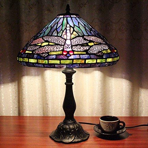 12 Zoll Vintage Pastorale Libelle Glasmalerei Tiffany Stil Tischlampe Schlafzimmer Lampe Nachttischlampe -