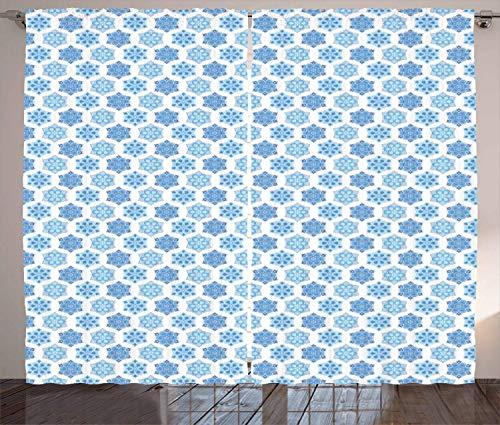 FAFANIQ Blue Mandala Curtains, Tribal Ornament Pattern in Chinese Style Far, Living...