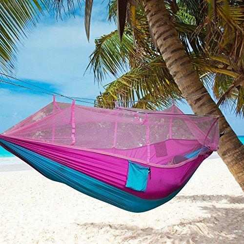 Outdoor Camping Hängematte mit Moskitonetz Hängematte , Mit hohen Dichte Gitter Knittern Fluoreszenz Taft, geeignet für 2 Personen, Garten, Reisen, Entspannung (Blau + Rosa)