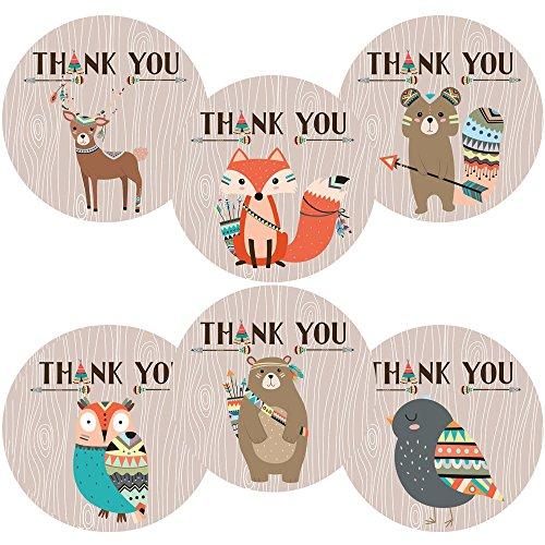 Adorebynat Party Decorations - EU Stammes Waldwald Tiere danken Ihnen Aufkleber Aufkleber - Geburtstags-Baby-Partei-Dusche - Set 30 (Braut-dusche Danken Ihnen)