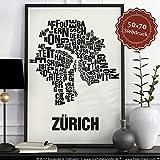 Zürich Buchstabenort Schwarz auf Naturweiß